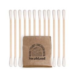 SWABLAND – Vatové tyčinky – 100% březové dřevo a organic bavlna 200 ks